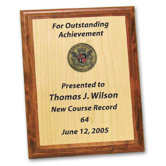 Logo Golf Rosewood & Maple Award Plaque