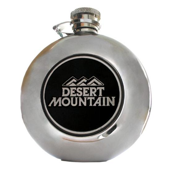 Logo Golf Round Flask w/ 2 Inch Medallion