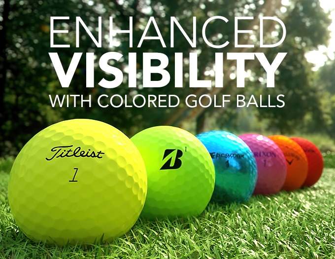 colored golf balls in neon yellow orange pink and more