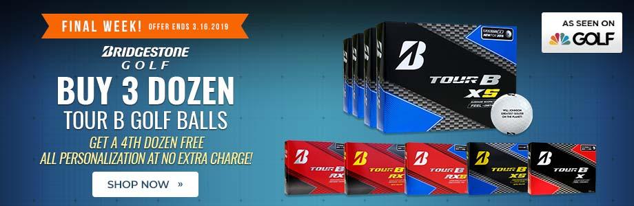 Buy 3 Dozen Bridgestone Tour B Golf Balls Get a 4th Dozen Free