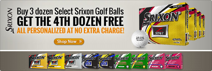 Buy 3 Dozen Select Srixon Golf Balls Get a 4th Dozen Free Plus Free Personalization