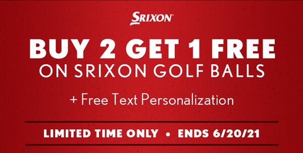 Limited Time Offer! Buy 2 Get 1 Free on Srixon Golf Balls