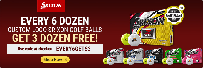 EVERY 6 DOZEN CUSTOM LOGO SRIXON GOLF BALLS GETS 3 DOZEN FREE!