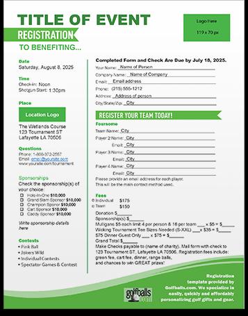 Free Golf Tournament Registration Form Template Golf