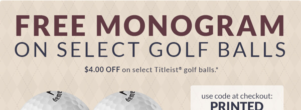 Free Monogram on Select Golf Balls