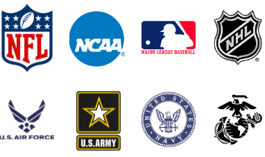 NFL - NCAA- MLB - NHL - US Air Force - US Army - US Navy - US Marines