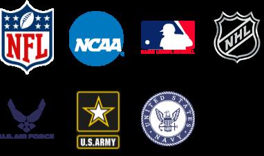 NFL - NCAA- MLB - NHL - US Air Force - US Army - US Navy - US Marines